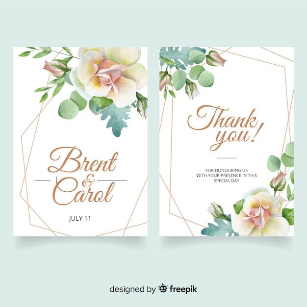 水彩風の結婚式の文房具の型板 無料ベクター