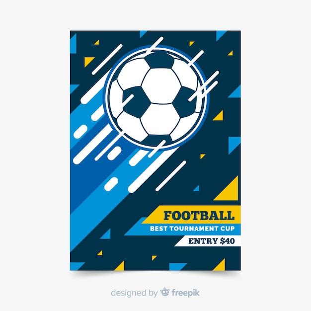 サッカーボールのスポーツポスターテンプレート 無料ベクター