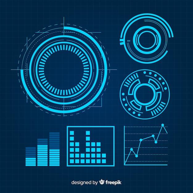 未来的な青いインフォグラフィック要素のコレクション 無料ベクター
