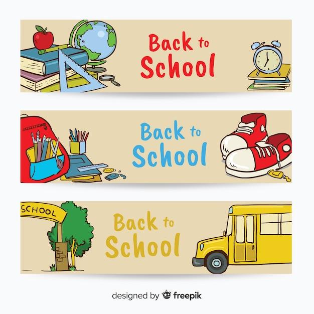 学校のバナーに引き戻される手 無料ベクター