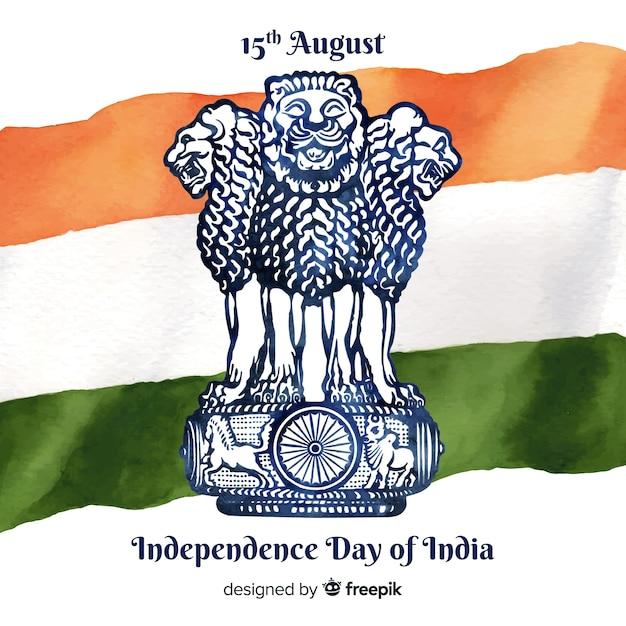 水彩インド独立記念日の背景 無料ベクター