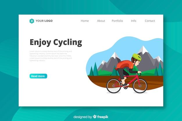 フラットサイクリングランディングページテンプレート 無料ベクター