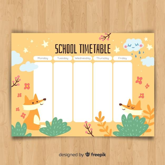 動物と手描き学校の時刻表 無料ベクター
