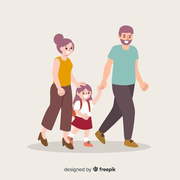 両親と一緒に平らな学校の子供たち 無料ベクター