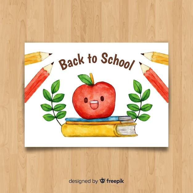 学校カードのテンプレートに戻る水彩画 無料ベクター