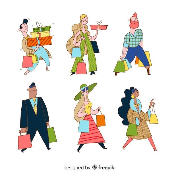 買い物袋を運ぶ手描きの人々 無料ベクター