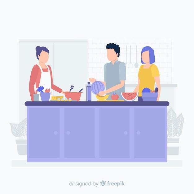 台所で料理をする人 無料ベクター