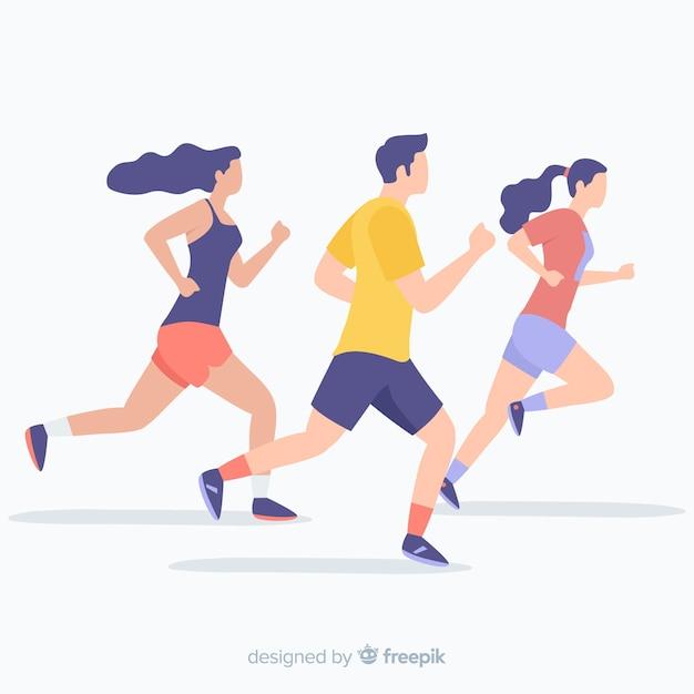 Люди бегут на марафоне Бесплатные векторы