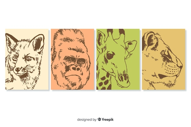 Коллекция рисованной диких животных Бесплатные векторы