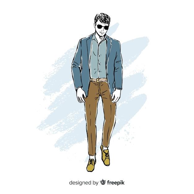 Мода иллюстрация с мужской моделью Бесплатные векторы