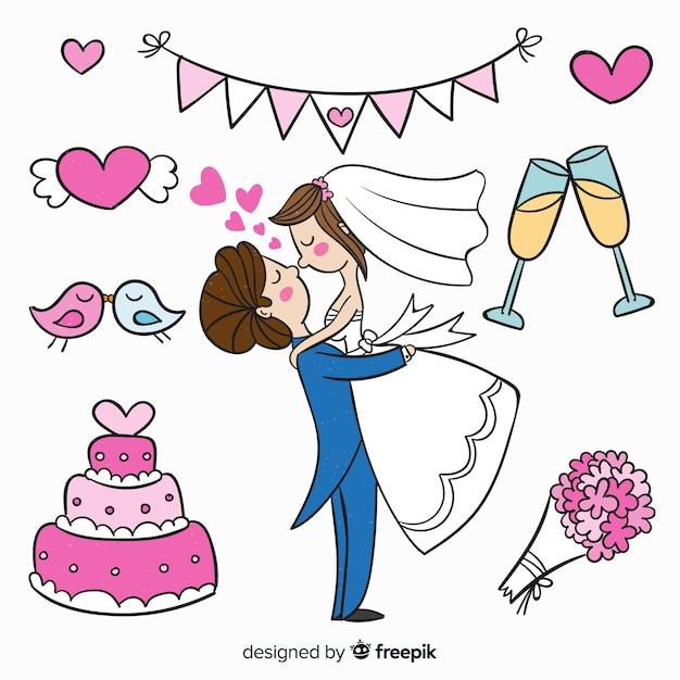 手描きの結婚式のカップルと要素 無料ベクター