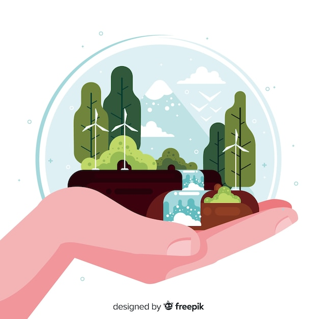 Ручной обращается пейзаж с водопадом Бесплатные векторы