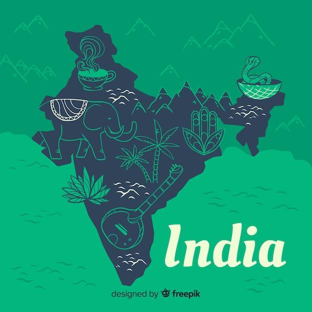 インドの手描き地図 無料ベクター
