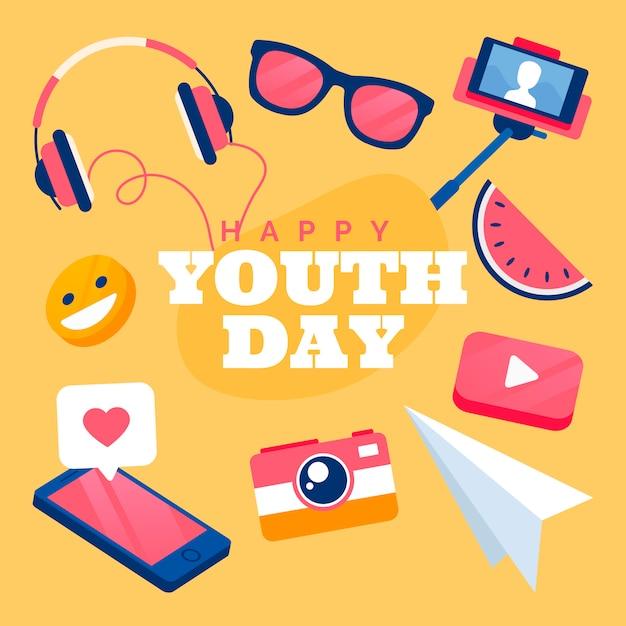 Плоский дизайн фона день молодежи Бесплатные векторы