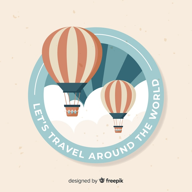 フラットデザインのビンテージ旅行ラベル 無料ベクター