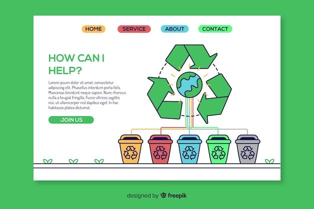 手描きリサイクルランディングページテンプレート 無料ベクター