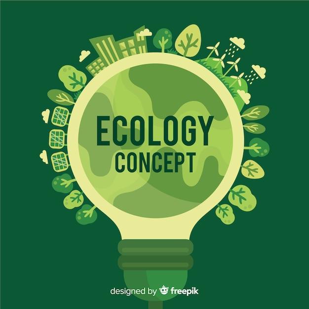 電球とフラットエコロジーコンセプト 無料ベクター