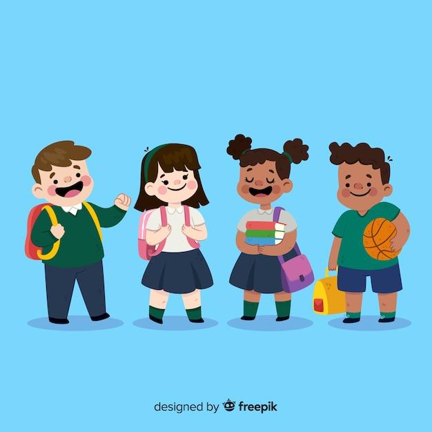 学校の子供たちにフラットバック Premiumベクター