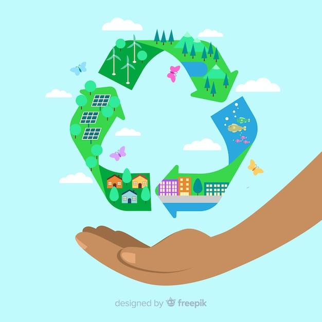 緑の野原とフラットリサイクルシンボル 無料ベクター