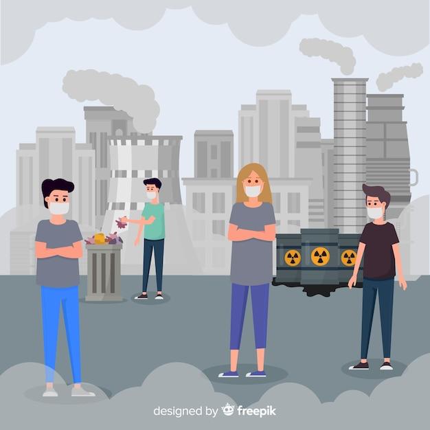 Люди, живущие в городе, полном загрязнения Бесплатные векторы