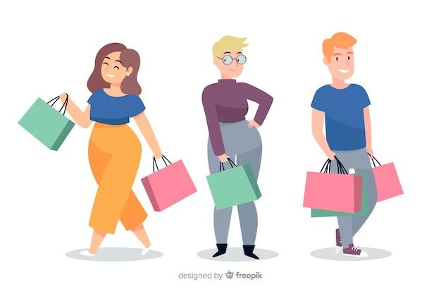 買い物袋を運ぶ人々のコレクション 無料ベクター