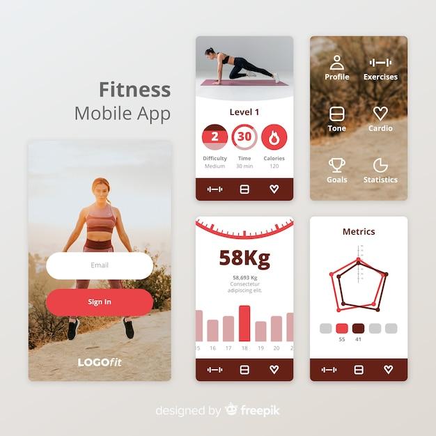 フィットネス携帯アプリインフォグラフィックテンプレート 無料ベクター