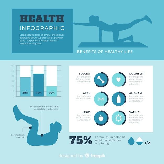 Плоский дизайн здоровья инфографики шаблон Бесплатные векторы