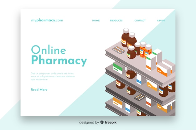 Шаблон целевой страницы интернет-аптеки Бесплатные векторы