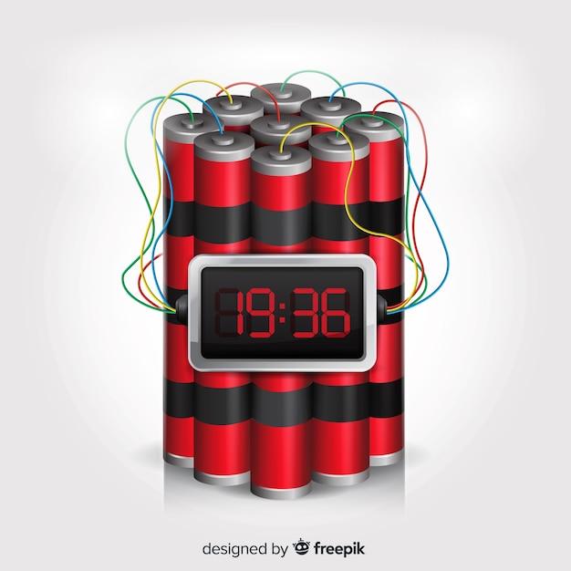 白い背景を持つ時限爆弾現実的なデザイン 無料ベクター