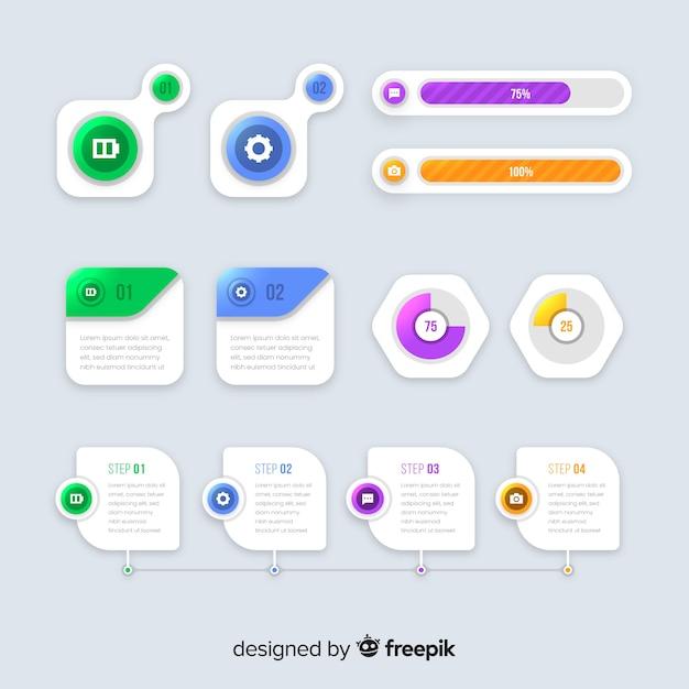 フラットデザインインフォグラフィック要素のコレクション 無料ベクター