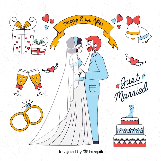 Ручной обращается свадьба пара с элементами Бесплатные векторы