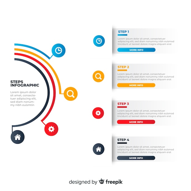 Красочные инфографики шаги плоский дизайн Бесплатные векторы