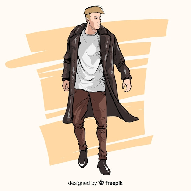 男性モデルのファッションイラスト 無料ベクター