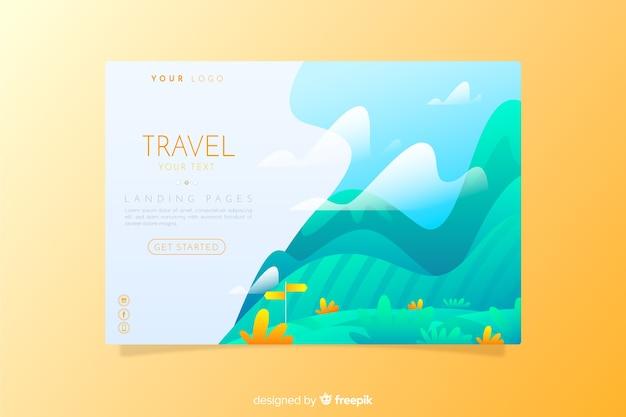 旅行のランディングページのフラットスタイル 無料ベクター