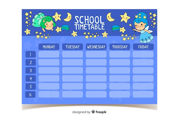 かわいいキャラクターと手描きの学校の時刻表 無料ベクター