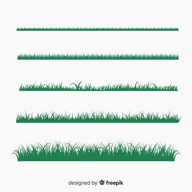 Зеленая трава границы силуэты коллекции Бесплатные векторы