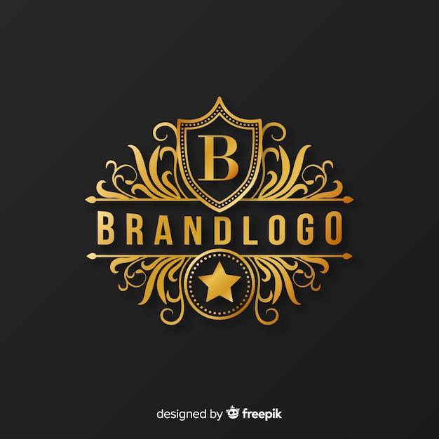 装飾品で黄金のエレガントなロゴのテンプレート 無料ベクター
