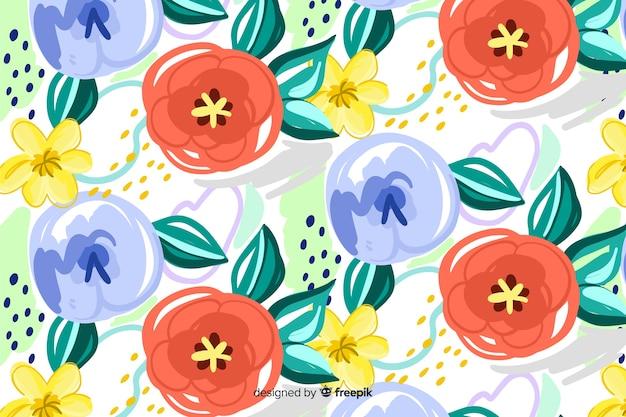 Окрашенный цветочный фон с абстрактными формами Бесплатные векторы