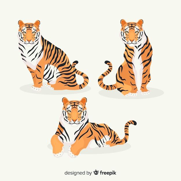 手描きの虎のコレクション 無料ベクター