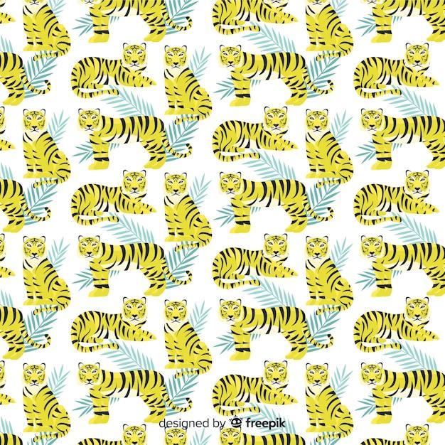 Тигр шаблон рисованной дизайн Бесплатные векторы