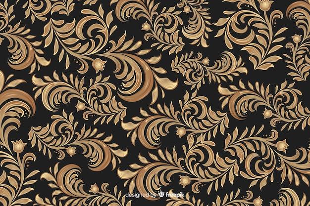 Золотой элегантный декоративный цветочный фон Бесплатные векторы