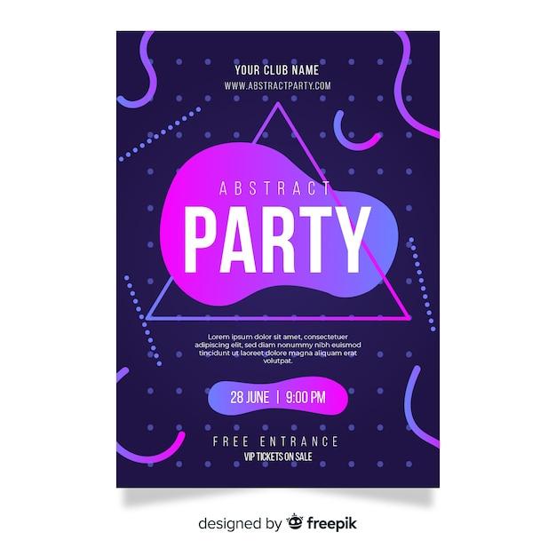 抽象的な形をしたパーティーポスターテンプレート 無料ベクター