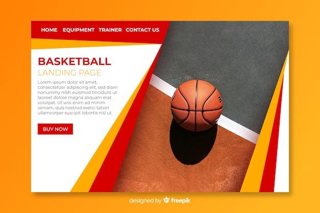 写真付きスポーツランディングページテンプレート 無料ベクター