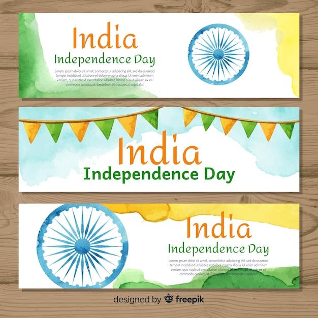 Счастливые баннеры дня независимости индии Бесплатные векторы