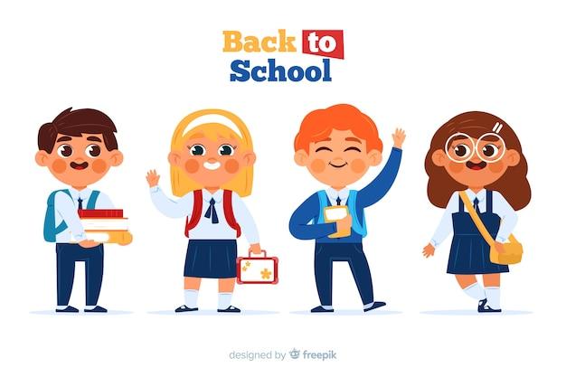 平らな子供たちは学校のコレクションに戻る 無料ベクター