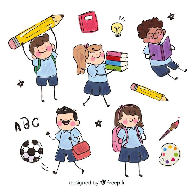 Плоские дети снова в школу Бесплатные векторы