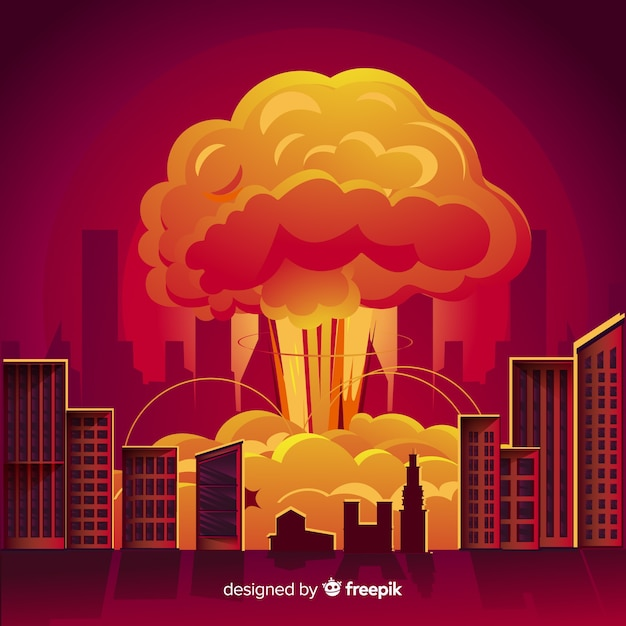 都市漫画風の核爆発 無料ベクター