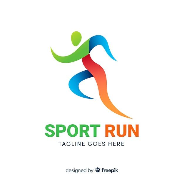 Абстрактный силуэт спорт логотип плоский дизайн Бесплатные векторы