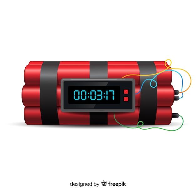 赤ダイナマイト爆弾現実的なスタイル 無料ベクター