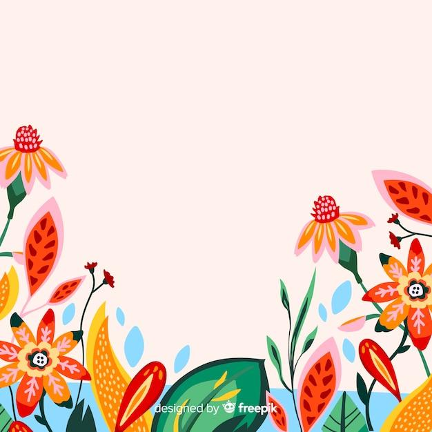 Естественный фон с красочными экзотическими цветами Бесплатные векторы